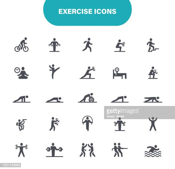 ilustraciones, imágenes clip art, dibujos animados e iconos de stock de iconos de ejercicio. set contiene icono como entrenamiento en el hogar, estilo de vida saludable, ejercicio, gimnasio, ilustración - pilates