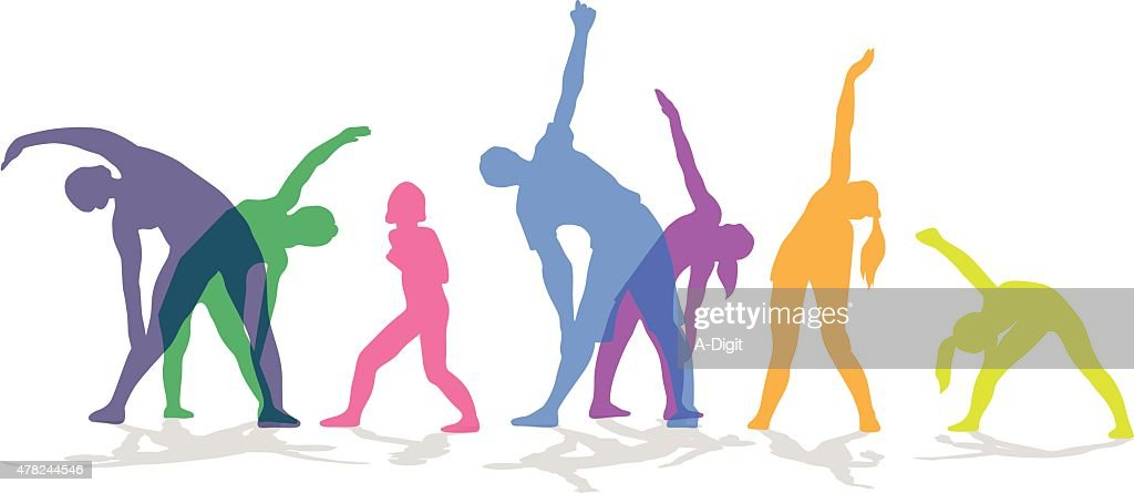 Exercise In Group Colored : stock illustration