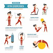 GYM exercise infographics.vector