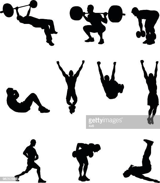 exercise people - crouching stock illustrations, clip art, cartoons, & icons