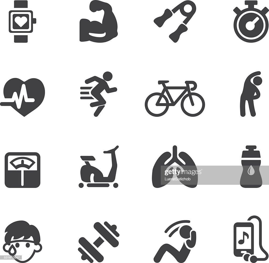 Exercise Silhouette icons | EPS10 : stock illustration