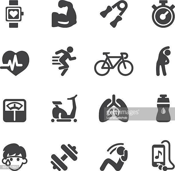 exercise silhouette icons | eps10 - stretching stock illustrations, clip art, cartoons, & icons