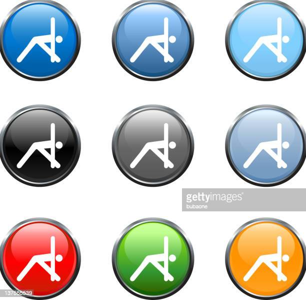 exercise stretching royalty free vector art in nine colors - touching toes stock illustrations, clip art, cartoons, & icons