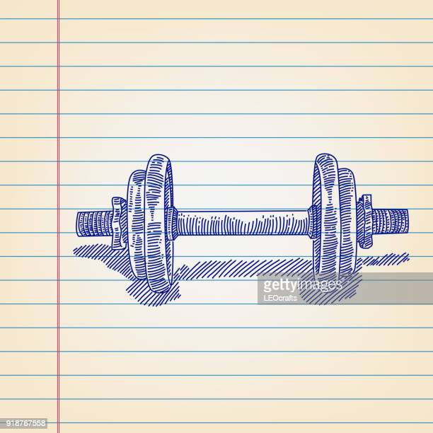 Exercise Weights Drawing on Lined paper