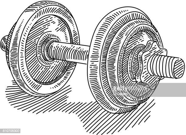 exercise weights drawing - dumbbell stock illustrations