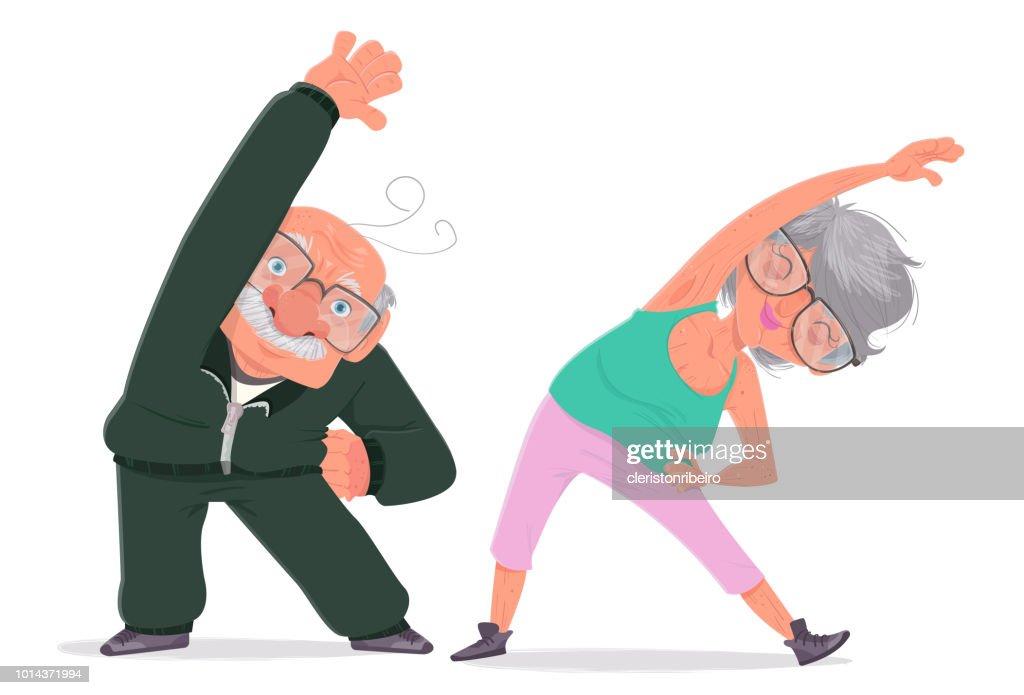 Exercises for the elderly : stock illustration