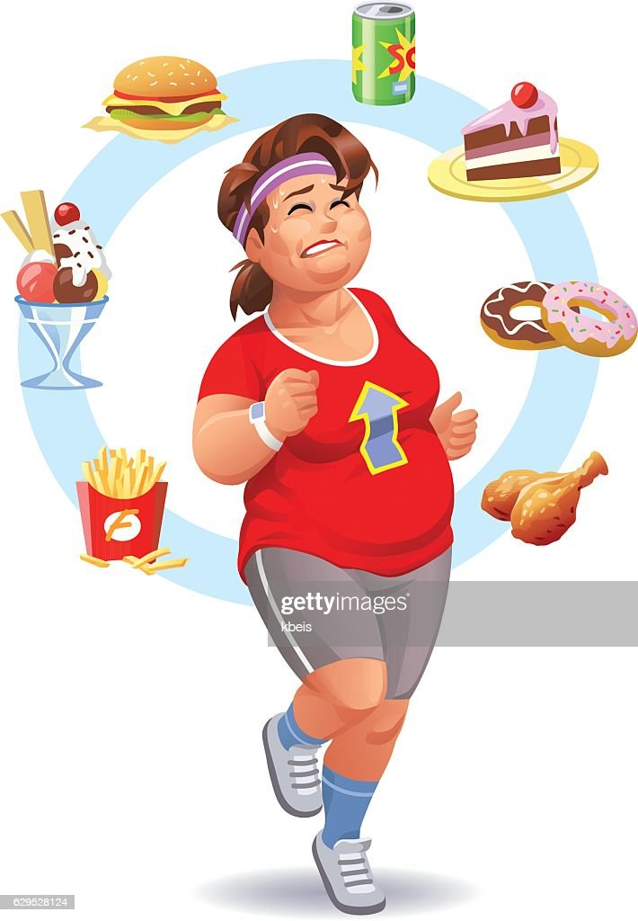 Exercising, Diet And Self-Control : stock illustration