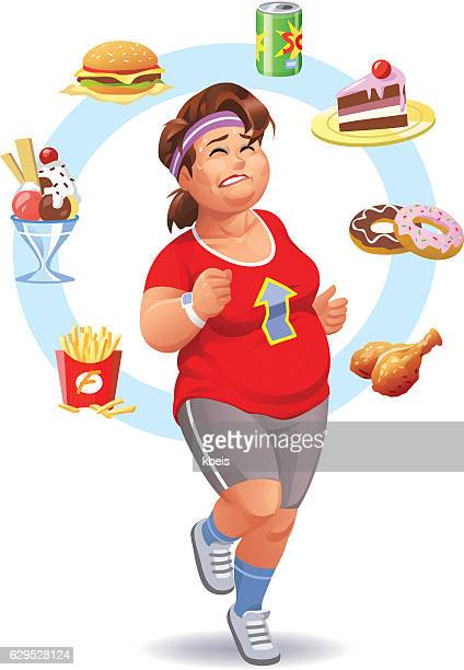 exercising, diet and self-control - unhealthy eating stock illustrations
