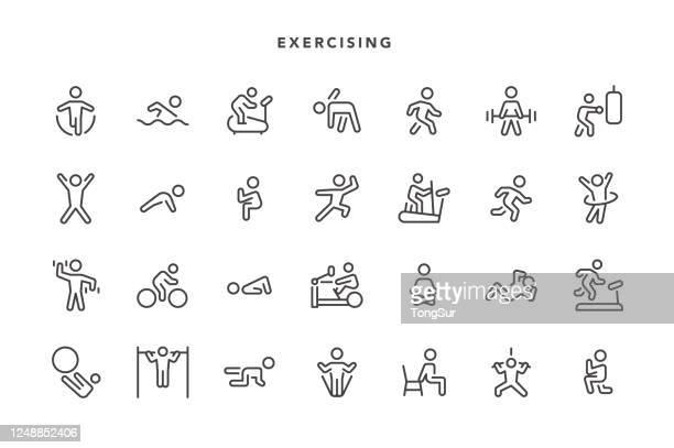 ilustraciones, imágenes clip art, dibujos animados e iconos de stock de iconos de ejercicio - pilates