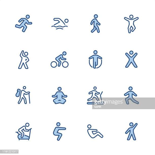 exercising - pixel perfect blue outline icons - relaxation exercise stock illustrations