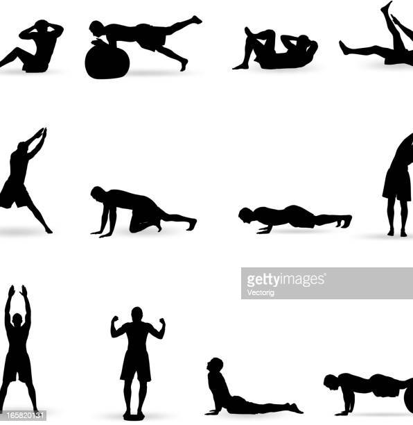 exercising - stretching stock illustrations, clip art, cartoons, & icons