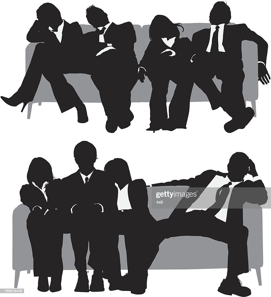 Exhausted business executives sitting on sofa : stock illustration
