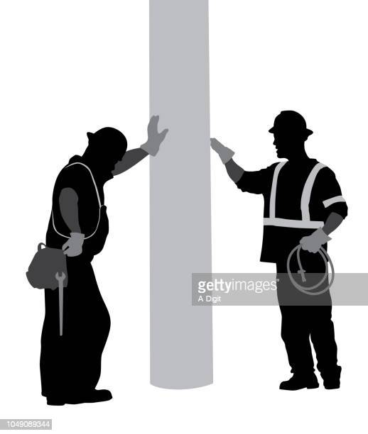 exhausted construction men - inspector stock illustrations, clip art, cartoons, & icons