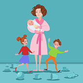 Exhausted Mother with Newborn and Children. Tired Cartoon Woman and Romping Kids. Motherhood Concept. Vector illustration