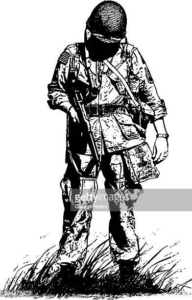 exhausted ww2 combat soldier - normandy stock illustrations, clip art, cartoons, & icons