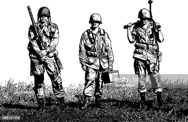 Exhausted WW2 Machine Gun Crew Soldiers