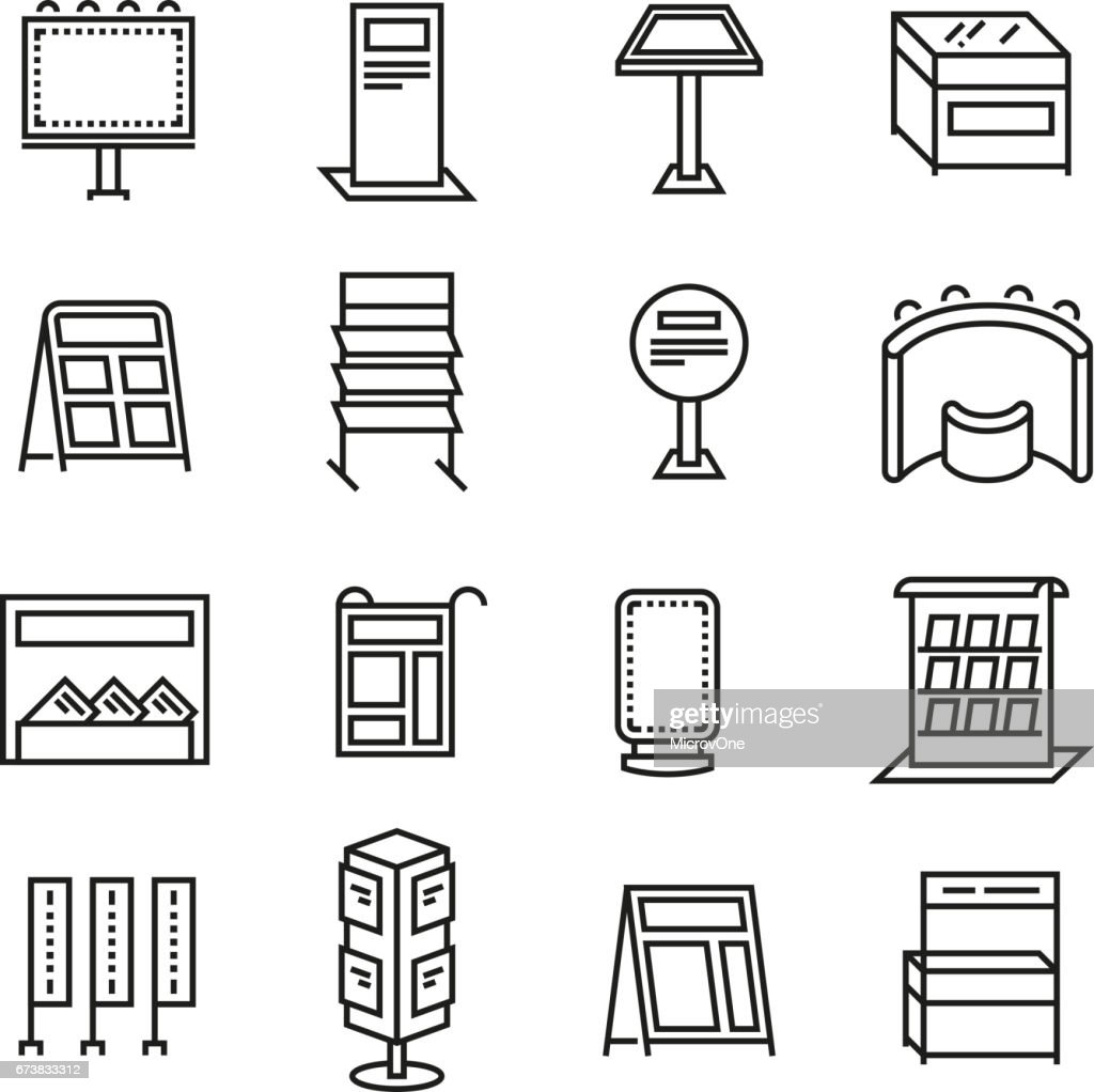 Exhibition banner stands, promo display line vector icons