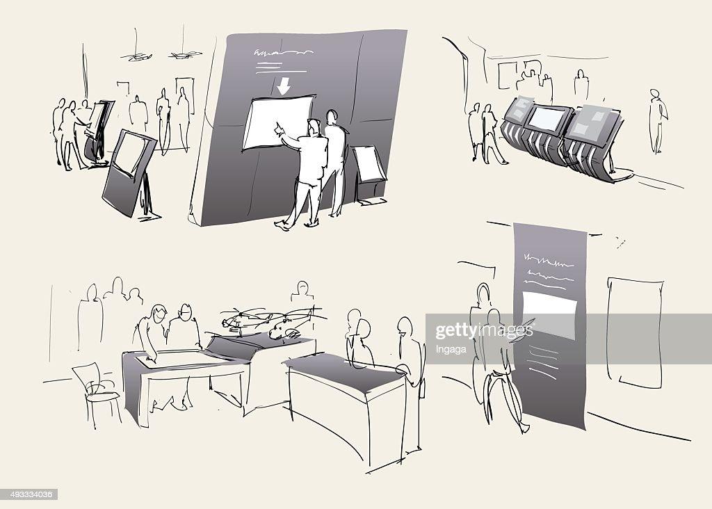 Exhibition, exhibition hall inside. Vector