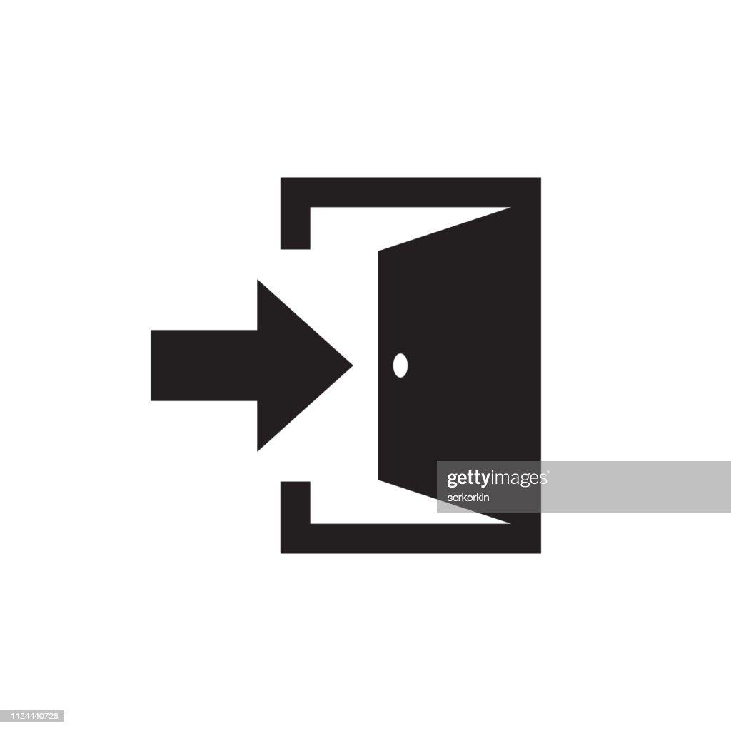 Exit - black icon on white background vector illustration for website, mobile application, presentation, infographic. Open door concept sign design.