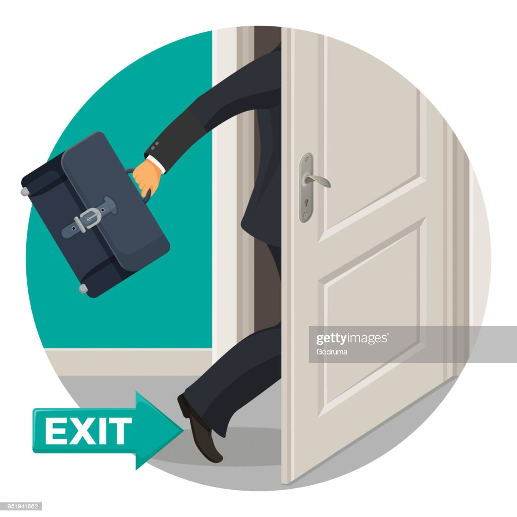 Exit door and bisunessman with leather briefcase that leaves