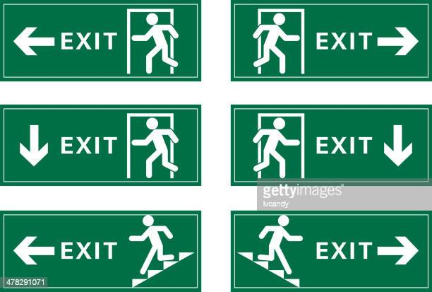 exit guide - evacuation stock illustrations