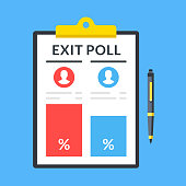 Exit poll. Pen and clipboard with election results. Top view. Modern flat design graphic elements. Vector illustration