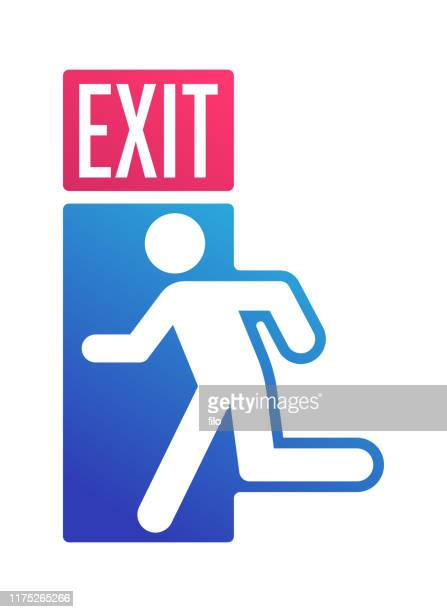 exit sign door leaving symbol - escaping stock illustrations