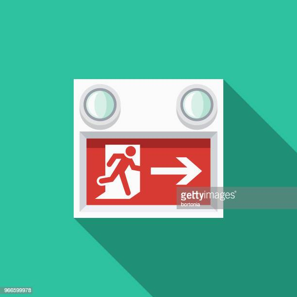 exit sign flat design emergency services icon - leaving stock illustrations