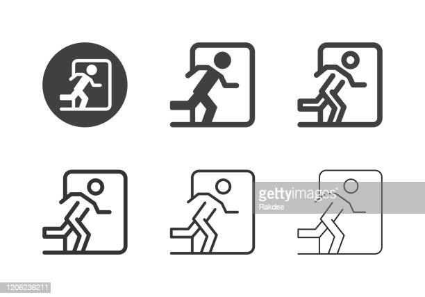 exit sign icons - multi series - leaving stock illustrations