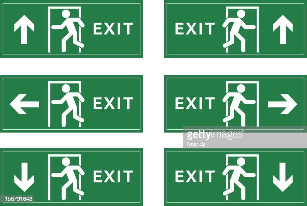 exit sign - exit sign stock illustrations