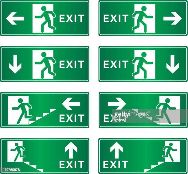 bildbanksillustrationer, clip art samt tecknat material och ikoner med exit sign - rymma