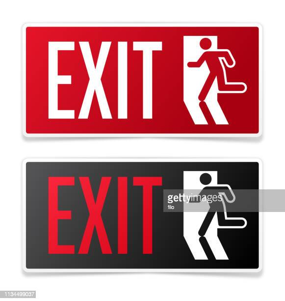 exit signs - leaving stock illustrations