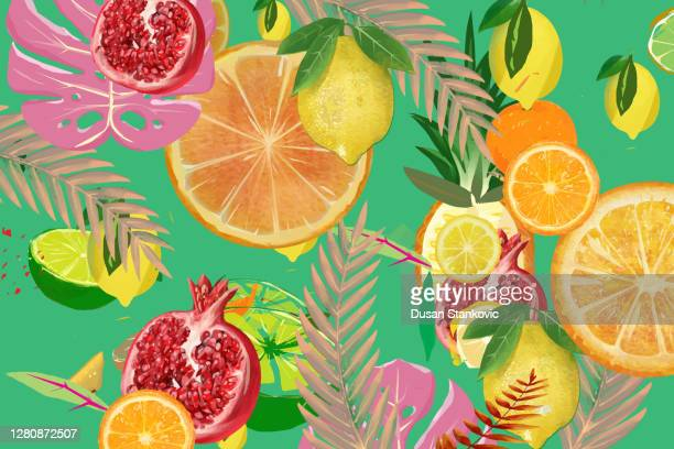 exotic background - tropical fruit stock illustrations