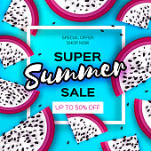 Exotic Dragon Fruit Super Summer Sale Banner in paper cut style. Origami juicy ripe dragonfruit slices. Healthy food on blue. Summertime. Square frame for text.