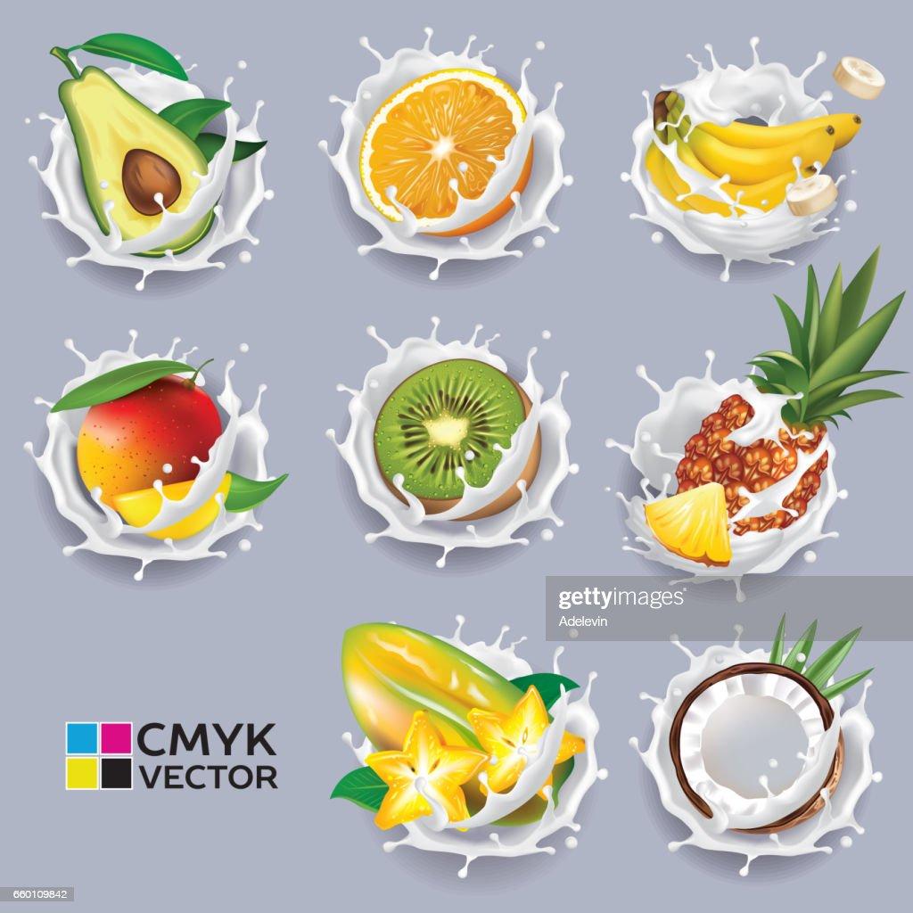 Exotic fruits in yogurt splash : stock illustration