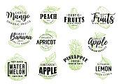 Exotic fruits market lettering sketch