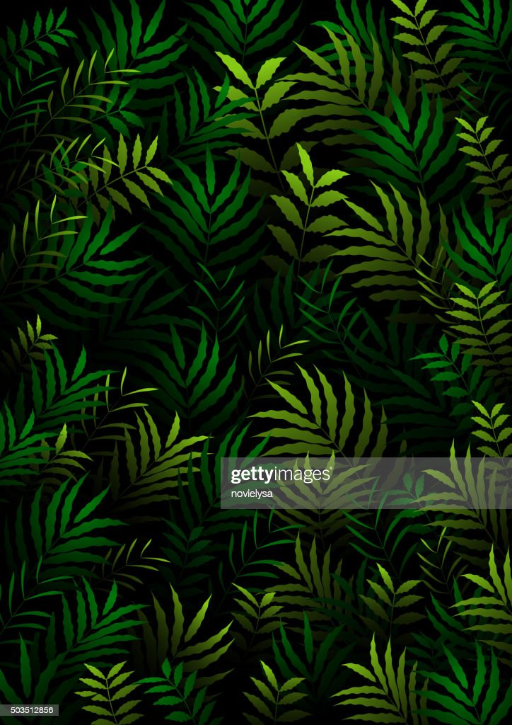 Exotic pattern with tropical leaves on a black background