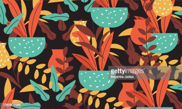 illustrations, cliparts, dessins animés et icônes de motif exotique avec des plantes tropicales et des feuilles - motif tropical