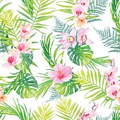 Exotic plants seamless vector print