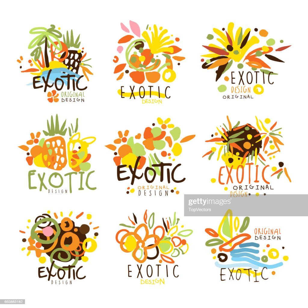 Exotic Summer Vacation Colorful Graphic Design Template Logo Set, Hand Drawn Vector Stencils