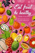 Exotic tropic fruits, tropical farm harvest