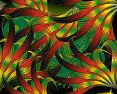 Exotic tropical abstract leafy 3d vector seamless pattern. Modern ornamental intricate background. Repeat glowing  backdrop. Beautiful floral fantasy ornament. Colorful design for wallpapers, textile