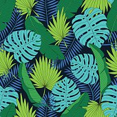 Exotic tropical palm leaves seamless background. Vector illustration