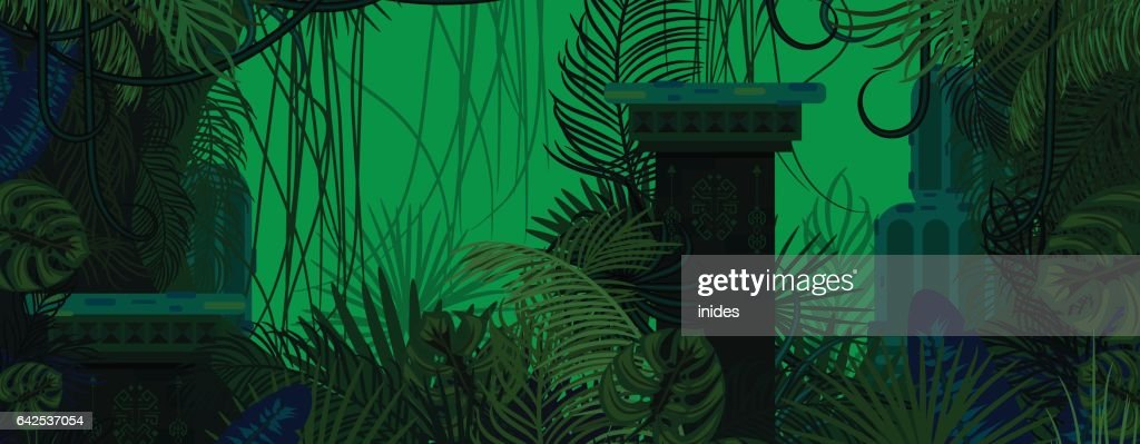 Exotic woods green wild nature background
