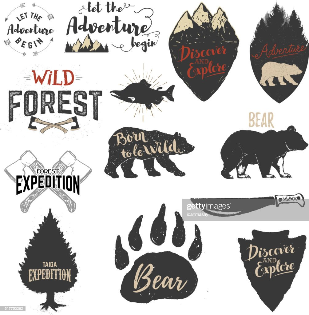 Expedition, discover, adventure labels and emblems.