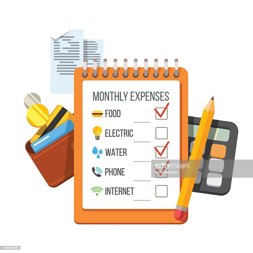 Expenses checklist, receipts, wallet, calculator