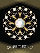 Expensive art deco filigree brooch in circle composition with diamonds, antique gold jewel, fashion in victorian style,