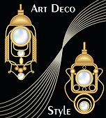 Expensive art deco filigree earrings with pearl, antique gold jewel, fashion in victorian style,