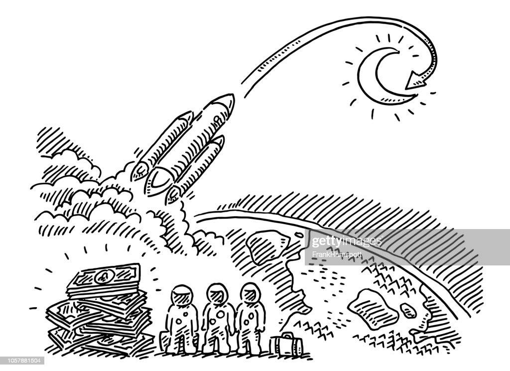 Teure Reise auf den Mond-Zeichnung : Vektorgrafik