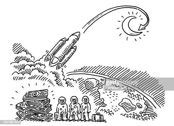 Teure Reise auf den Mond-Zeichnung